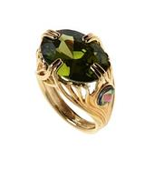 """Кольцо """"Сапсан"""" с фианитом, покрытое золотом (e784p0a3)"""