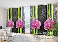 """3D Фото Шторы в зал """"Орхидеи и бамбук"""" 2,7м*2,9м (2 полотна по 1,45м), тесьма"""