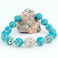 Варисцит синий, Ø10 мм., серебро, браслет, 286БРВ
