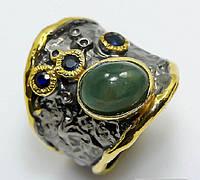 Кольцо ручной работы из серебра 925 пробы с натуральным изумрудом. Размер 17,5