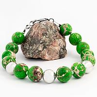 Варисцит зеленый, Ø10 мм., серебро, браслет, 287БРВ