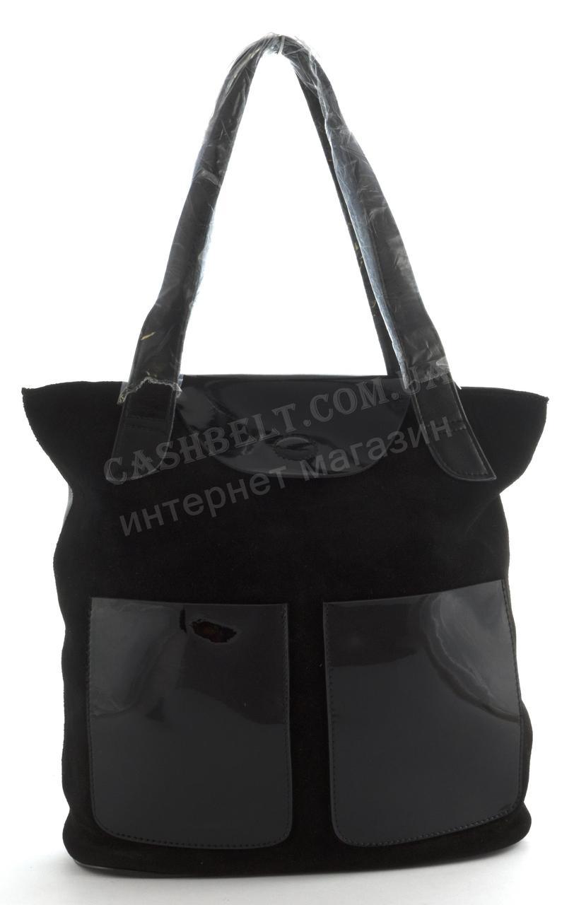 afff3e2586d8 Оригинальная стильная прочная элегантная женская сумка с натуральной кожи  лак/замша SOLANA art. 328