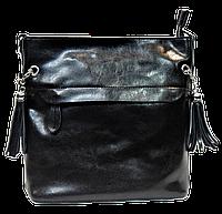 Молодежная женская сумочка из натуральной кожи черного цвета KKT-000721