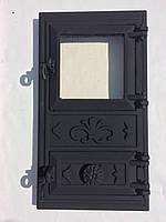 """Дверь спарка чугун-стекло""""эко""""поддув (27""""49)черная"""