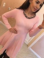 """Женское, молодежное платье с юбкой клеш из теплого трикотажа """"Косичка"""" фабричный Китай! РАЗНЫЕ ЦВЕТА"""