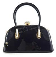 Элитная очень стильная небольшая качественная лаковая сумка SULIYAart. K-733 синяя