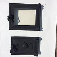 """Дверка чугунная печная со стеклом + зольная с поддувом """"Эко"""" №2 230*275 мм (вес - 7 кг)"""