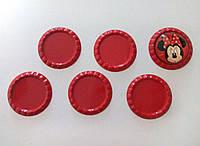 Крышка для кабошона (красная) 3,3 см (внутр 2,5 см)