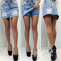 Оригинальные женские джинсовые юбка-шорты (плотный джинс, декор рваные потертости, длина мини) РАЗНЫЕ ЦВЕТА!