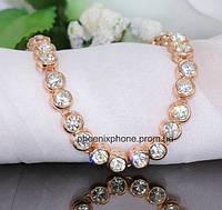 Браслет в шикарном дизайне с великолепными австрийскими кристаллами, покрытый золотом (700260)