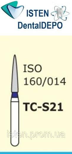 Боры TC-S21 - синий конусообразный с острым кончиком, короткая ножка, MANI (3 шт.)