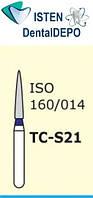 Боры TC-S21 - синий конусообразный с острым кончиком, короткая ножка, MANI (3 шт.), фото 1