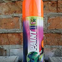 Флуоресцентная аэрозольная эмаль. Belife Fluor Paint 1006 Оранжевый