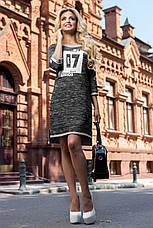 Эффектное трикотажное платье (трёхнитка, стильный принт, контрастная отделка, рукава 3/4) РАЗНЫЕ ЦВЕТА!, фото 2