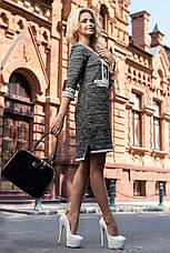 Эффектное трикотажное платье (трёхнитка, стильный принт, контрастная отделка, рукава 3/4) РАЗНЫЕ ЦВЕТА!, фото 3