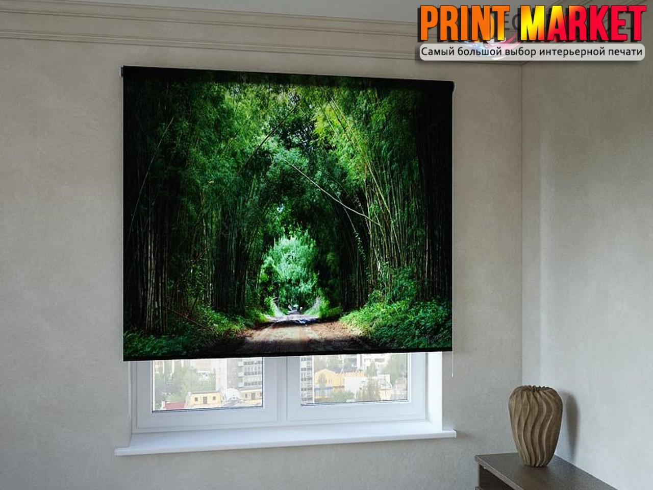Рулонные шторы с фотопечатью дорога через лес