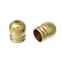 Зажим-концевик для ожерелья, Бочка, Цвет латунный, 6.0мм x 5.5мм, для шнура 3,5mm
