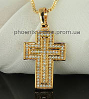Шикарный крестик, усыпанный камнями + цепочка, покрытый золотом (313620)