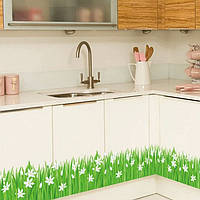 """Наклейка на стену, виниловые наклейки """"зеленая травка с белыми цветами"""" (лист50*70см) длина 1м40см*25см"""