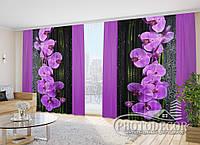"""3D Фото Шторы в зал """"Орхидеи на черном"""" 2,7м*2,9м (2 полотна по 1,45м), тесьма"""