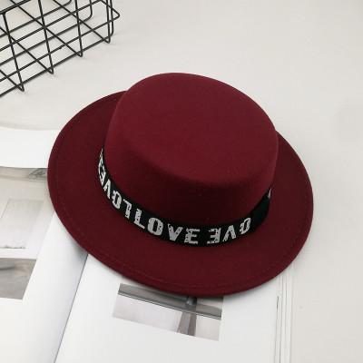 Фетровий капелюх жіночий канотьє Love бордова (марсала)