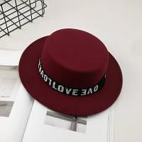 Фетровий капелюх жіночий канотьє Love бордова (марсала), фото 1