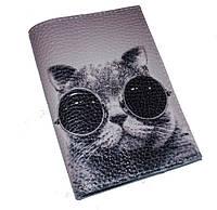 Кожаная обложка для паспорта с котом -Крутой кот-