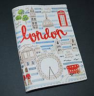 Кожаная обложка для паспорта/загранпаспорта -Прогулка по Лондону-