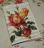 Кожаная женская обложка для паспорта -Ветка розы с нотами-