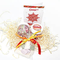 Набор новогодний с карамельками и маршмэллоу с логотипом.