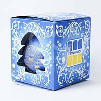 Новогодний шарик с логотипом и присыпкой, Д100мм, цвет синий металлик в упаковке по индивидуальному дизайну