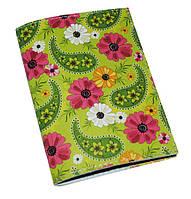 Кожаная женская обложка для паспорта -Хохлома Green-