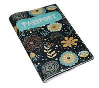 Кожаная женская обложка для паспорта -Бирюзовые цветы-