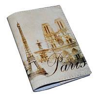 Кожаная обложка на паспорт -Винтажный Париж-
