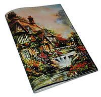 Кожаная женская обложка для паспорта -Сказочный домик-