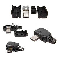 Штекер micro USB 5pin угловой с разборным корпусом