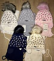 Шапка и шарф зимний набор на девочек