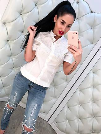 Женская, котоновая рубашка с короткими рукавами, декорирована жемчугом. РАЗНЫЕ ЦВЕТА, фото 2