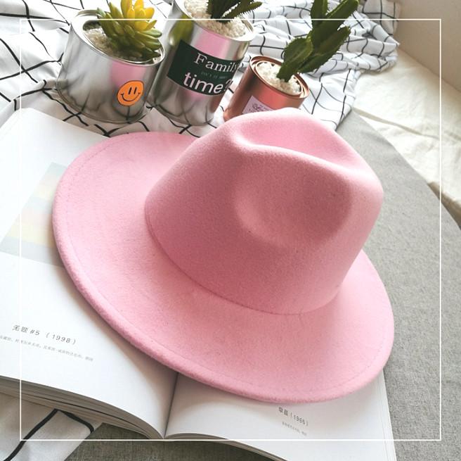 Шляпа женская фетровая Федора с устойчивыми полями розовая