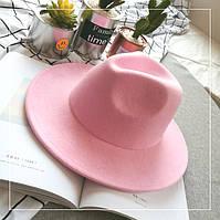 Шляпа женская фетровая Федора с устойчивыми полями розовая, фото 1