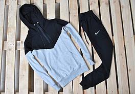 Мужской спортивный костюм на замке Nike/ серый-черный
