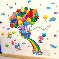 """Наклейка на стену, наклейка в детскую, наклейки на шкаф """"Зверята на воздушных шариках""""  (лист 40*60см"""