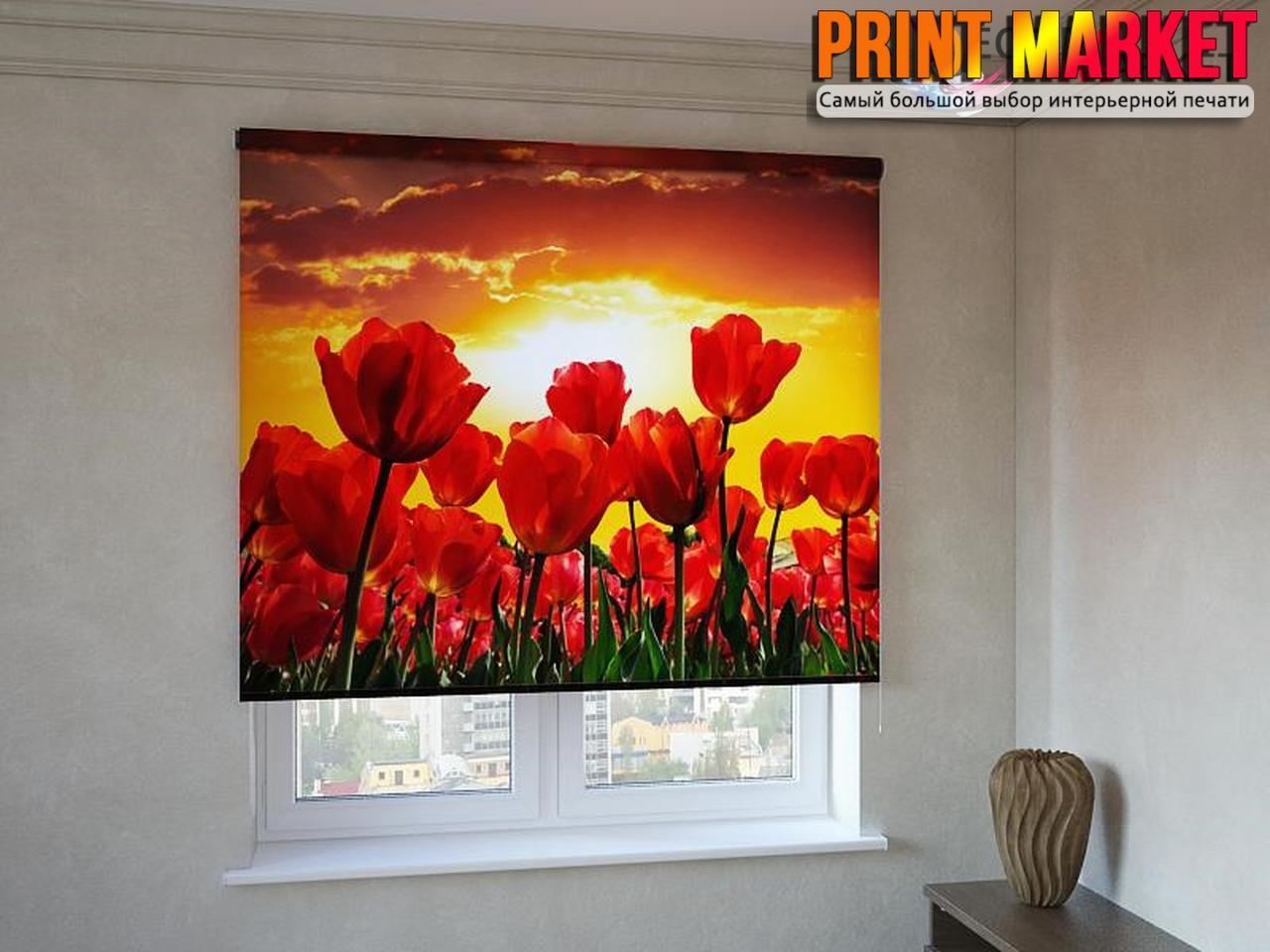 Рулонные шторы с фотопечатью красные тюльпаны 3d