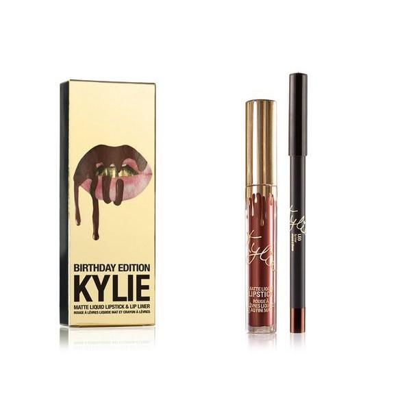 Набор жидкая матовая помада и карандаш для губ Kylie Birthday Edition