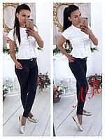 Стильная женская блуза (трикотаж, короткие рукава, склады на талии, шнуровка) РАЗНЫЕ ЦВЕТА!