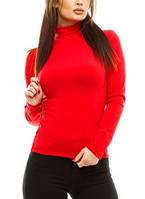 Водолазка (гольф) женский, на флисе, красный