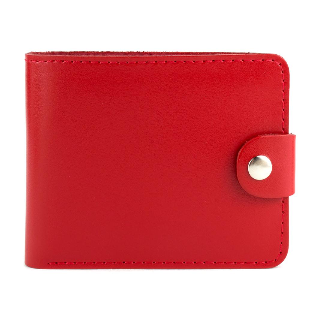 Портмоне шкіряне жіноче на кнопці П3-07 (червоне)