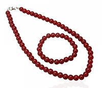 Комплект бусы и браслет искусственный жемчуг темно-красный