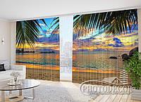 """Фото Шторы в зал """"Далекий океан"""" 2,7м*4,0м (2 полотна по 2,0м), тесьма, фото 1"""