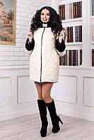 Зимняя женская молочная куртка В-979 Лаке Тон 16 42-56 размеры